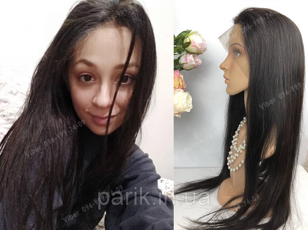 Натуральный парик, черный длинный волос, на сетке 360, имитация кожи головы