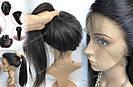 Натуральный парик, черный длинный волос, на сетке 360, имитация кожи головы, фото 4