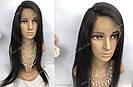 Натуральный парик, черный длинный волос, на сетке 360, имитация кожи головы, фото 5