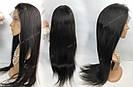 Натуральный парик, черный длинный волос, на сетке 360, имитация кожи головы, фото 6