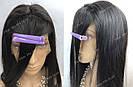 Натуральный парик, черный длинный волос, на сетке 360, имитация кожи головы, фото 7