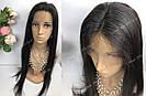 Натуральный парик, черный длинный волос, на сетке 360, имитация кожи головы, фото 8