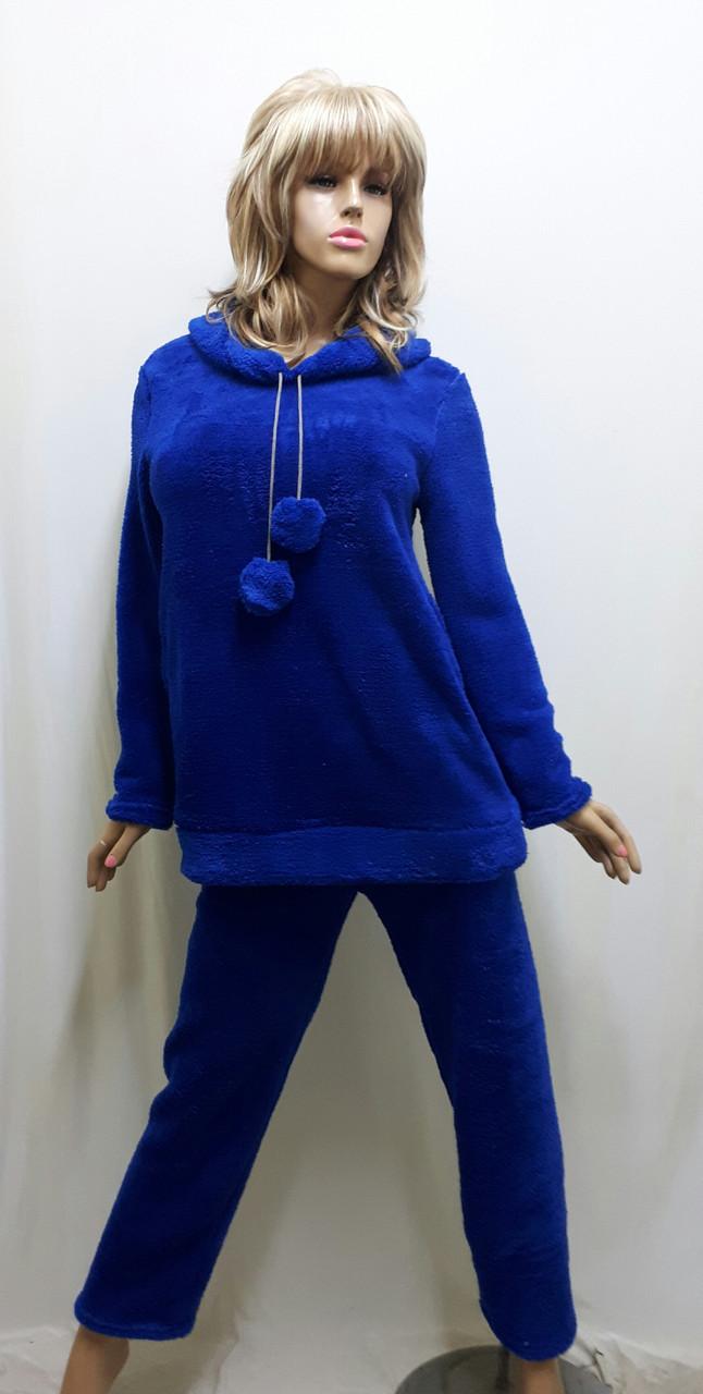 Пижама женская теплая махровая с брюками 611