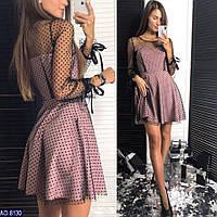 Плаття нарядне з прозорими рукавами та спиною
