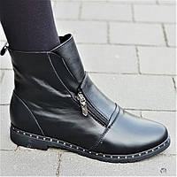 Очень оригинальные и стильные женские зимние ботильоны полусапожки ботинки кожаные черные (Код: 1312), фото 1