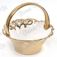 Корзинка для конфет , фруктов белый фарфор с позолотом  украшены кристаллами