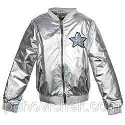 Детская куртка для девочки под серебро размер 134-152