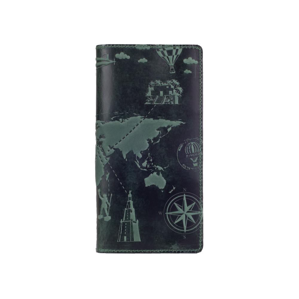 """Красивый зеленый кожаный бумажник на 14 карт с авторским тиснением """"7 wonders of the world"""""""