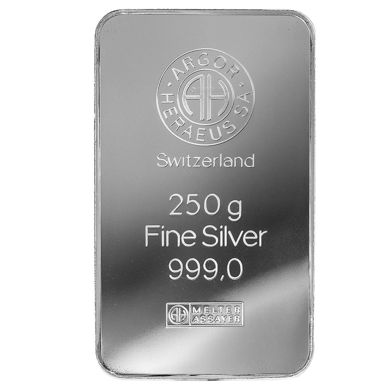 Слиток серебра 250 грамм Argor-Heraeus