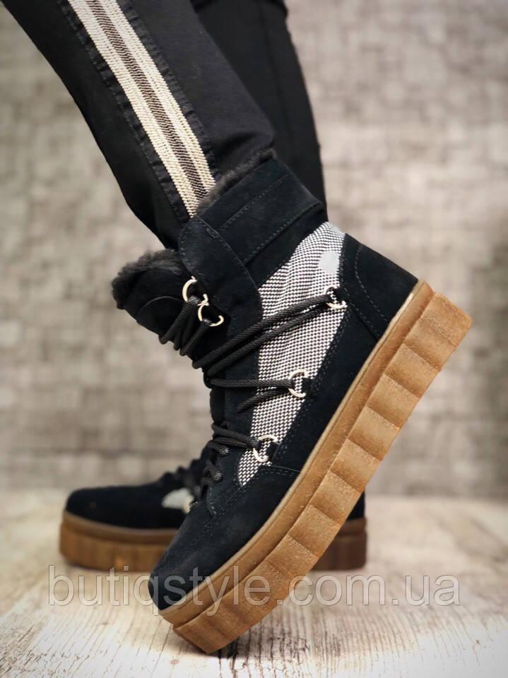 Зимові черевики жіночі чорні на шнурівці натуральна замша + шкіра