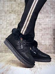 Зимові черевики міні-уггі жіночі чорні на шнурівці натуральна замша з напиленням
