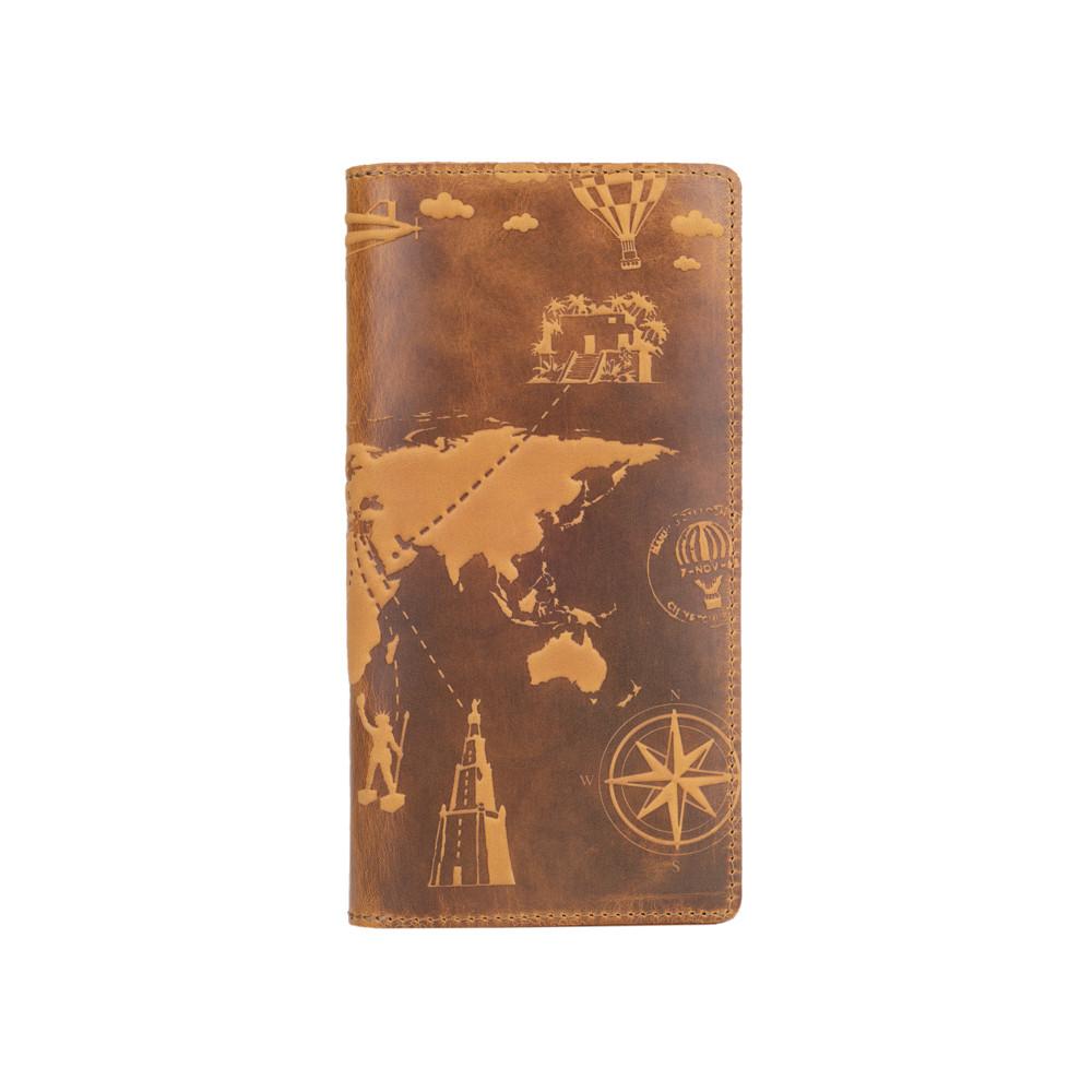 """Бумажник с матовой натуральной кожи светло желтого цвета на 14 карт, коллекция """"7 wonders of the world"""""""