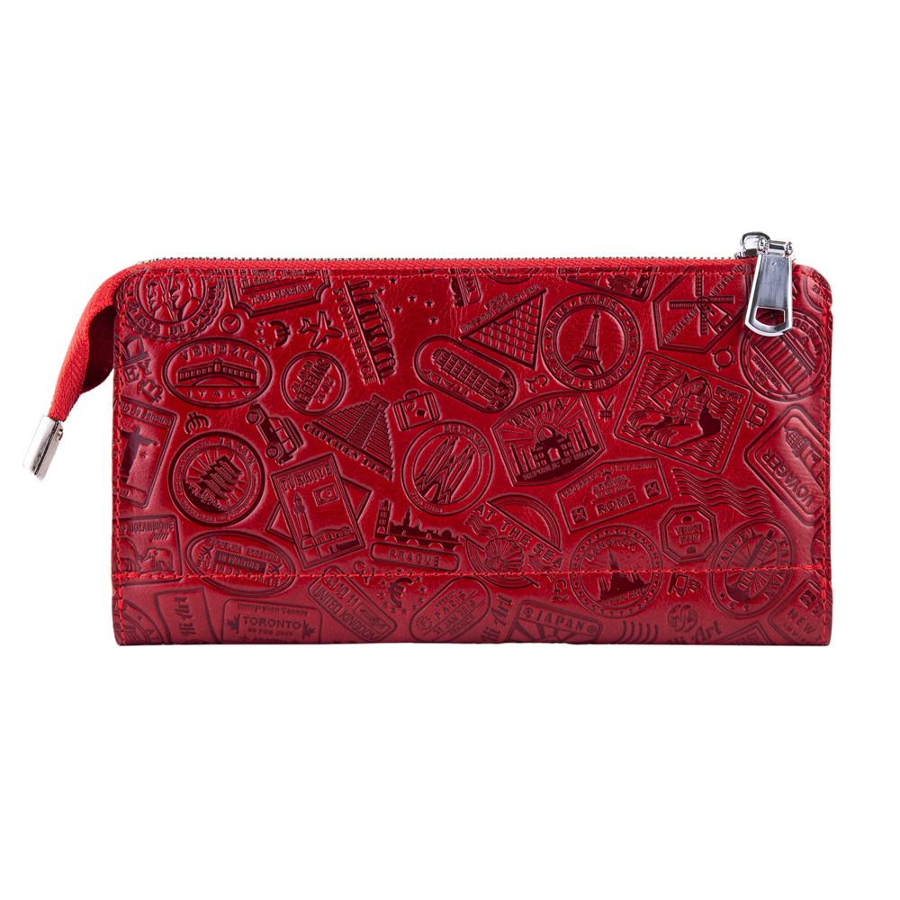 """Красивый кожаный кошелек на молнии красного цвета, коллекция """"Let's Go Travel"""""""