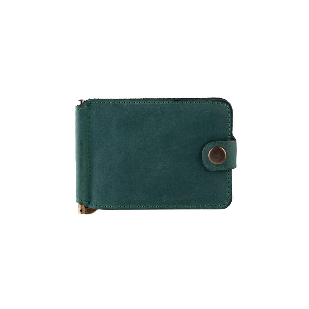 Кожаный зажим для денег зеленого цвета с отделением для монет