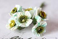 Декоративные бумажные цветочки 6 шт., диаметр 2 см бело-бирюзового цвета, фото 1