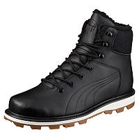 Ботинки мужские Puma Desierto Fun L 364300 01 (черные, кожаные, с мехом, зима, подошва ЕВА, бренд пума)