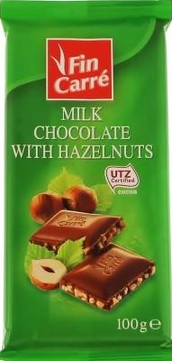 Молочний шоколад з фундуком Fin Carre Milk Chocolate with Hazelnuts 100 г.