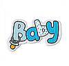 """Декоративное деревянное украшение """"Baby"""" голубого цвета"""