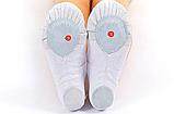 Балетні тапочки білі (OB-0004 верх-х/б,шкіра, підошва-шкіра), фото 3