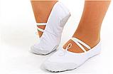 Балетні тапочки білі (OB-0004 верх-х/б,шкіра, підошва-шкіра), фото 2