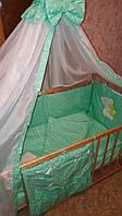 Постельные комплекты в кроватку для новорожденных, набор постельного 8 предметов в кроватку с вышивкой