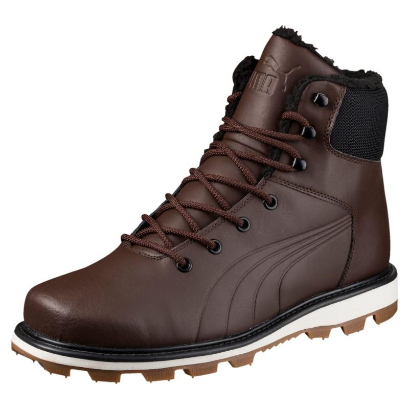 Ботинки мужские Puma Desierto Fun L 364300 02 (коричневые, кожаные, с мехом, зима, подошва ЕВА, бренд пума)