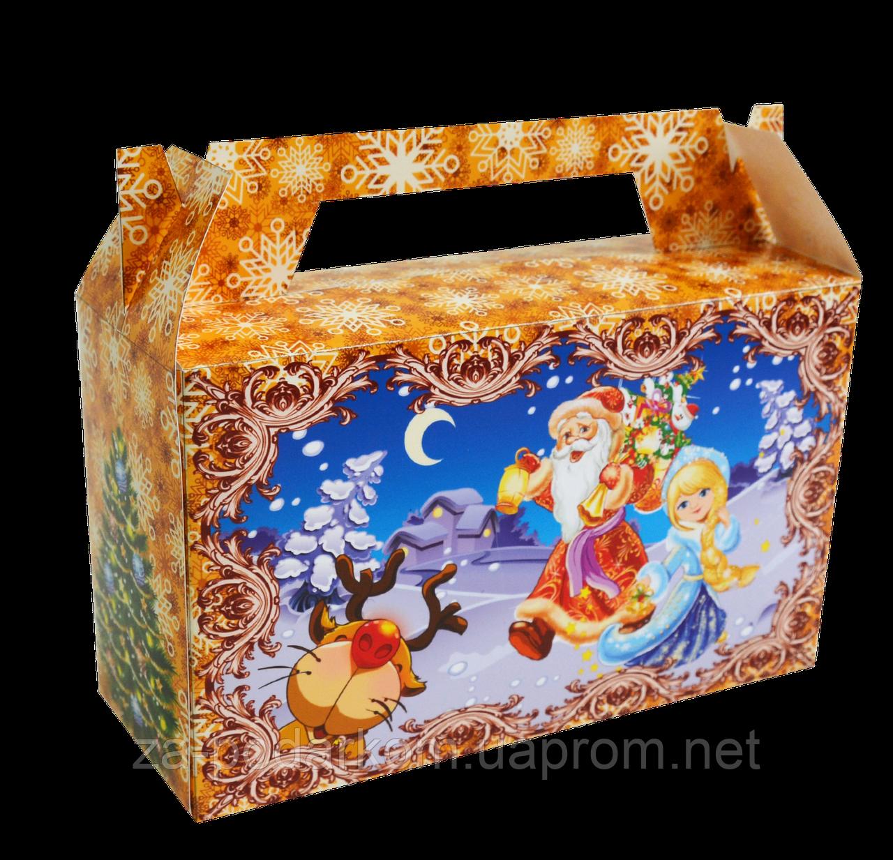 """Новорічна упаковка """"Дід і Снігурка"""" для цукерок 300 г"""