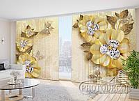"""Фото Шторы в зал """"Цветы на песке"""" 2,7м*4,0м (2 полотна по 2,0м), тесьма"""