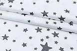 """Сатин """"Звёздный путь"""" графитовый на белом № 1803с, фото 2"""