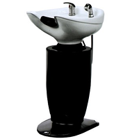 Парикмахерская Мойка без кресла на колонне zd-b39 белая/черная керамическая раковина с сантехникой, фото 1