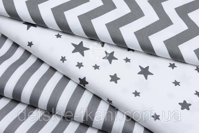 белый сатин с графитовыми звёздами