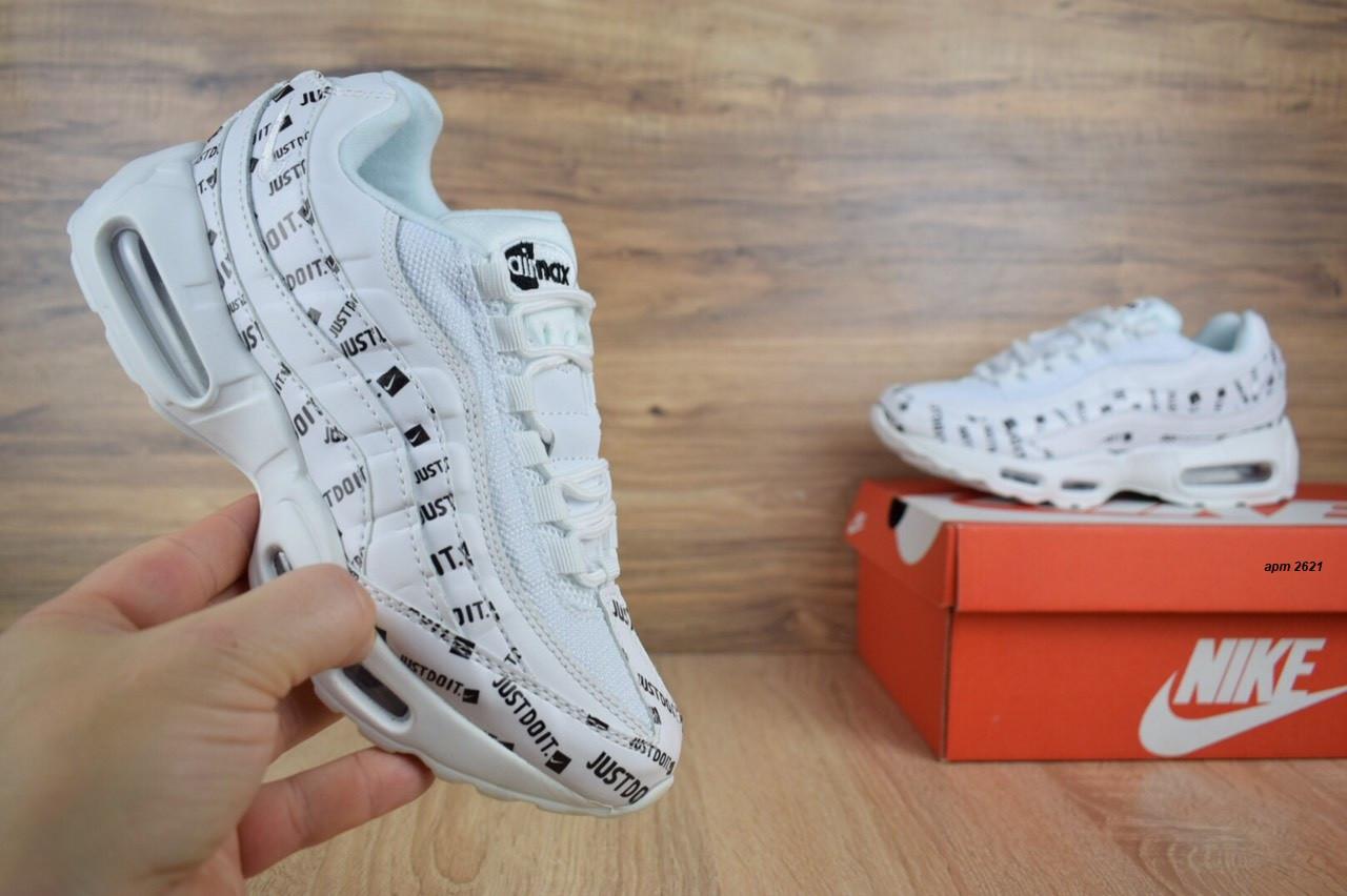 6732b013 Подростковые белые кроссовки Nike Air Max 95 с надписями реплика топ  качества с живыми фотографиями