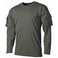 Тактическая футболка спецназа США с длинным рукавом, тёмно-зелёная, с карманами на рукавах, х/б MFH 00123B