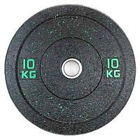 Бамперный диск для штанги 10кг Stein Hi-Temp с цветными вкрапления для дома и спортзала