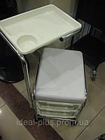 Стул-тележка для педикюра, пуф - столик для экспресс маникюра обивка белая