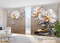 """Фото Шторы в зал """"3D Орхидеи и бабочки"""" 2,7м*5,0м (2 полотна по 2,5м), тесьма"""