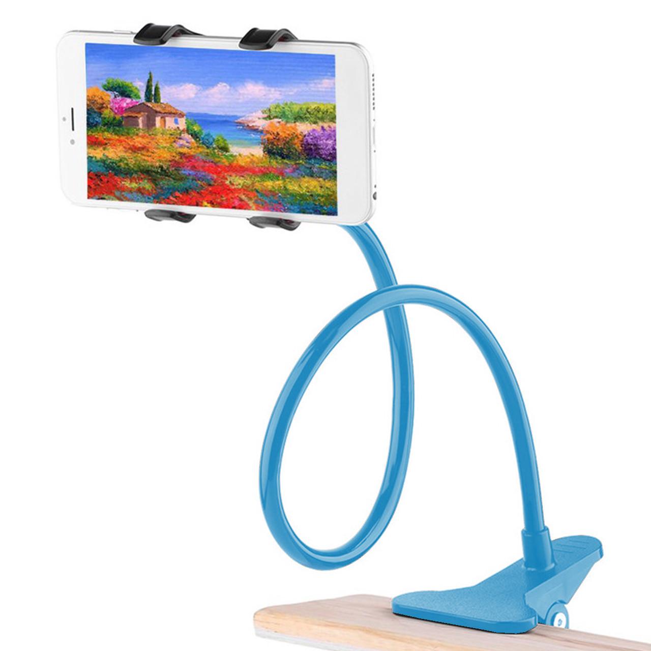 ➛Гибкий держатель Lesko 360 Blue для смартфона прикроватный вращающийся на гибкой ножке универсальный