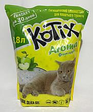 Наповнювач Kotix 1,8 кг (3,8 л) Aroma Green Apple силікагелевий для туалетів для кішок з ароматом яблука