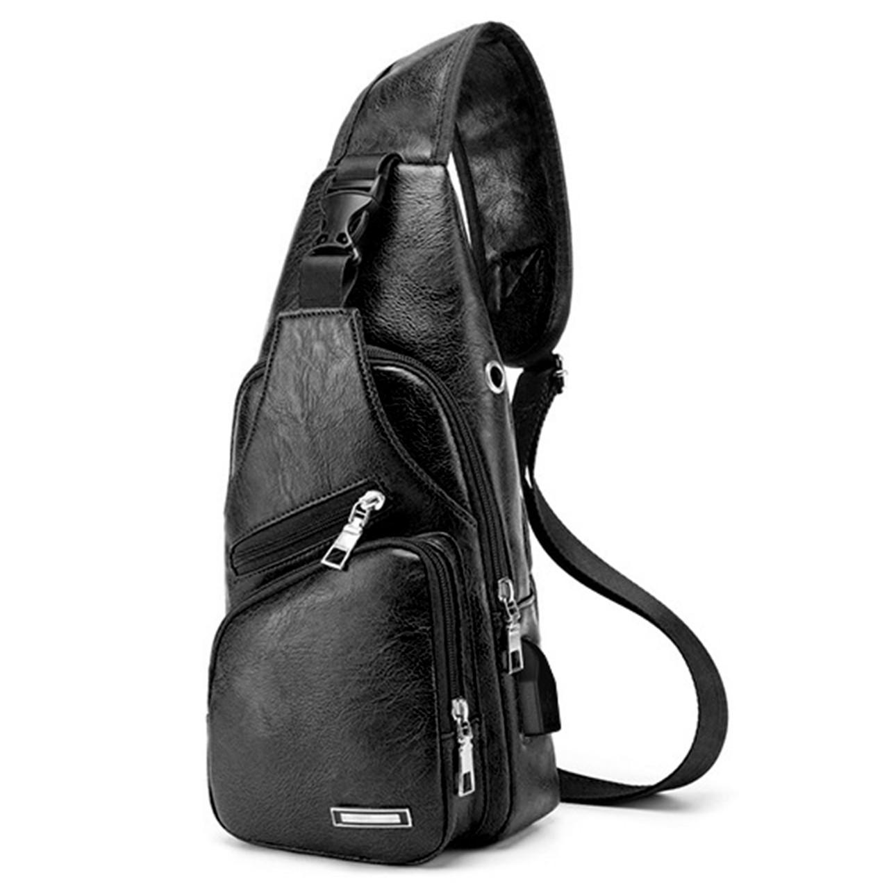 49a417800661 ☆Рюкзак Haodier Jeep Black через плечо городской мужской спортивная сумка с  USB портом - Фактория