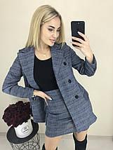 Женский теплый костюм двойка пиджак и юбка ft-1031 синяя клетка, фото 3