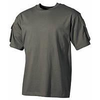 Тактическая футболка (S) спецназа США, тёмно-зелёная, с карманами на рукавах, х/б MFH 00121B
