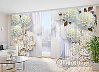 """Фото Шторы в зал """"3D цветы 2"""" 2,7м*4,0м (2 полотна по 2,0м), тесьма"""