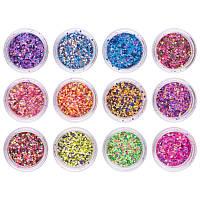 Набор разноцветного конфетти для ногтей , 12 шт ( МАТОВОЕ)