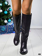 Сапоги женские кожаные баклажановые, фото 1