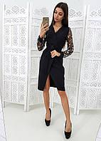 ff54f84bf08 Платье на запах черного цвета с кружевными рукавами VL3738 S. Размер 42