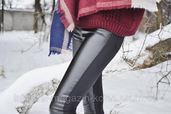 Черные женские утепленные лосины на байке, фото 2