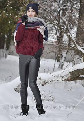 Черные женские утепленные лосины на байке, фото 3