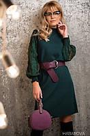 Женское платье с ажурными рукавами в расцветках. АХ-5-1218