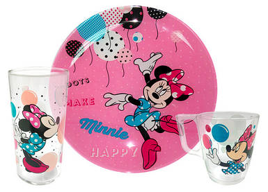 Набор детский LUMINARC DISNEY PARTY MINNIE 3 предмета (L4877)