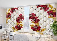 """Фото Шторы в зал """"Красные 3D цветы со стразами"""" 2,7м*2,9м (2 полотна по 1,45м), тесьма"""